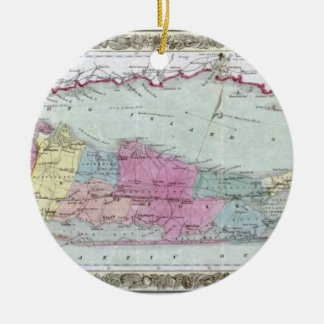 Historic 1855-1857 Travellers Map of Long Island Round Ceramic Decoration