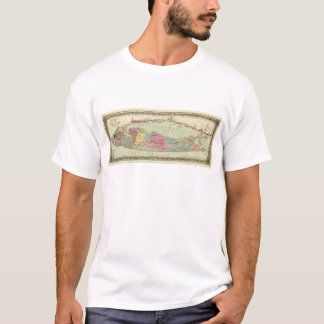 Historic 1855-1857 Travellers Map of Long Island T-Shirt