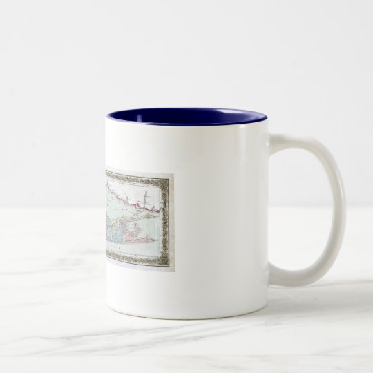 Historic 1855-1857 Travellers Map of Long Island Two-Tone Coffee Mug