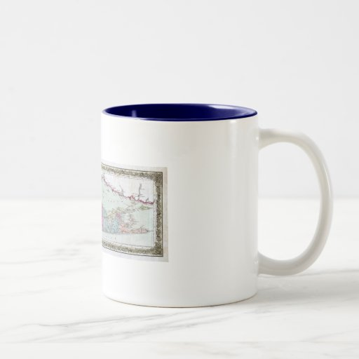 Historic 1855-1857 Travellers Map of Long Island Two-Tone Mug