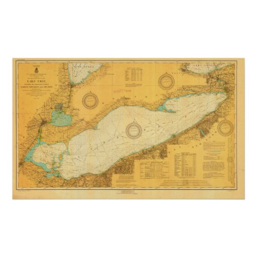 Historic 1918 Nautical Lake Erie chart poster
