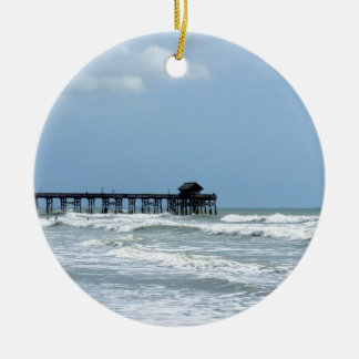 Historic Cocoa Beach Pier Round Ceramic Decoration