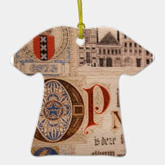Historic Document  Antique Certificate Vintage Double-Sided T-Shirt Ceramic Christmas Ornament