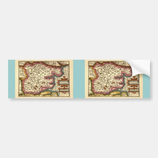 Historic Essex County Map, England Bumper Stickers