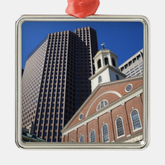 Historic Faneuil Hall against modern Boston Christmas Ornament