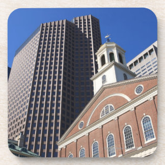Historic Faneuil Hall against modern Boston Drink Coasters