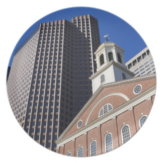 Historic Faneuil Hall against modern Boston Plate