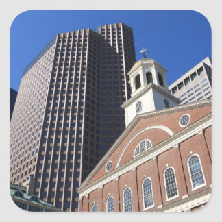 Historic Faneuil Hall against modern Boston Square Sticker