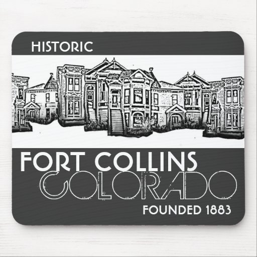 Historic Fort Collins Colorado old town mousepad
