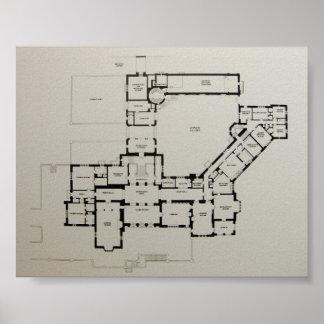 Historic House Plan Greystone Dewey House Poster