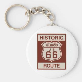 Historic Illinois RT 66 Basic Round Button Key Ring