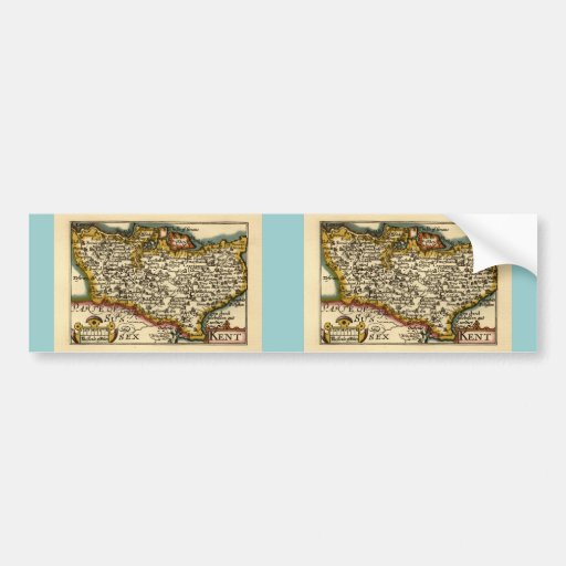 Historic Kent County Map, England Bumper Sticker