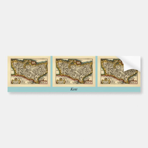 Historic Kent County Map, England Bumper Stickers