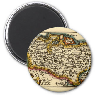 Historic Kent County Map, England 6 Cm Round Magnet