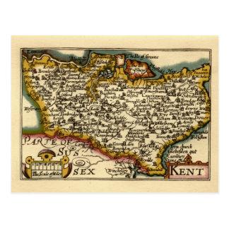 Historic Kent County Map, England Postcard