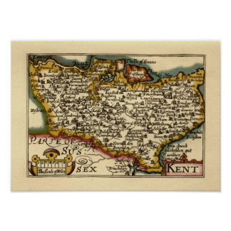 Historic Kent County Map, England Poster