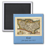 Historic Kent County Map, England Square Magnet