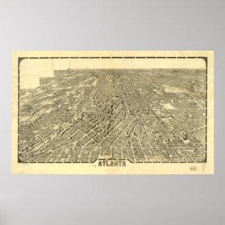 Historic Map of Atlanta, Georgia, 1919 Poster