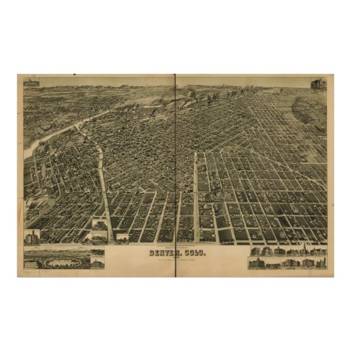 Historic Map of Denver, 1889 Posters
