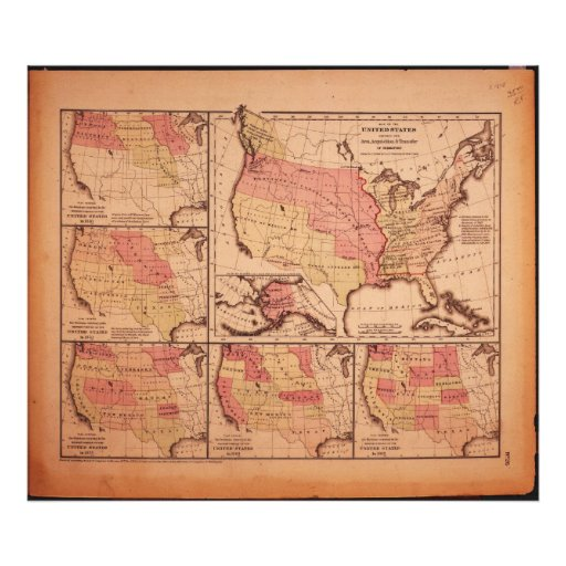 Historic Map of United States Expansion 1787-1865 Photographic Print