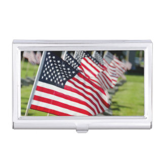 Historic military cemetery with US flags Case For Business Cards