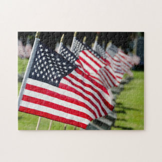 Historic military cemetery with US flags Jigsaw Puzzle