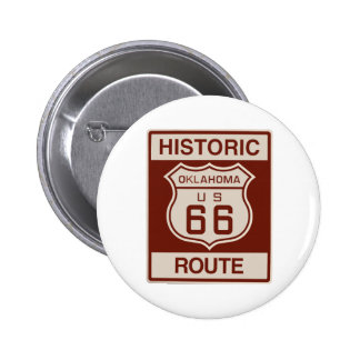 Historic Oklahoma RT 66 6 Cm Round Badge