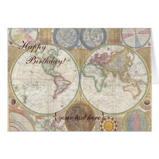 Historic Old World Map 1794 - Happy Birthday Cards