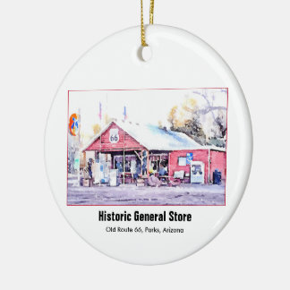 Historic Route 66 Arizona General Store Watercolor Christmas Ornament