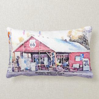 Historic Route 66 Arizona General Store Watercolor Lumbar Cushion