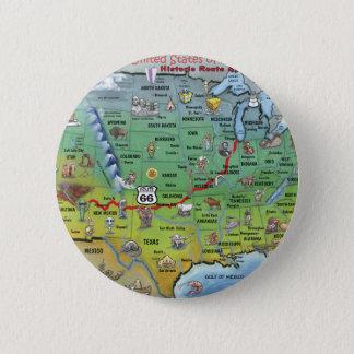 Historic Route 66 Cartoon Map 6 Cm Round Badge