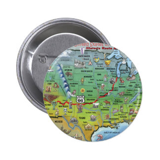 Historic Route 66 Cartoon Map Pinback Button