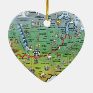 Historic Route 66 Cartoon Map Ceramic Heart Decoration
