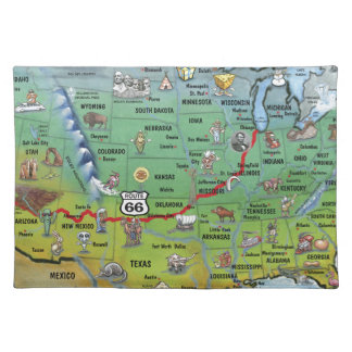 Historic Route 66 Cartoon Map Placemat