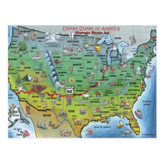 Historic Route 66 Cartoon Map Postcard