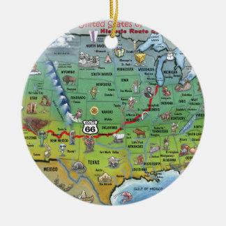 Historic Route 66 Cartoon Map Round Ceramic Decoration