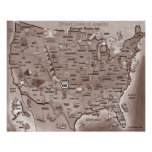 Historic Route 66 USA Cartoon Map Poster
