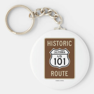 Historic Route US 101 California (Sign) Basic Round Button Key Ring