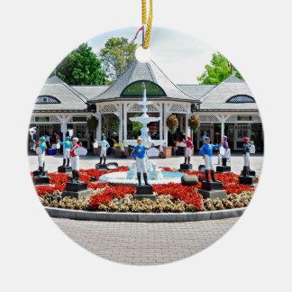 Historic Saratoga 150 on Opening Day Round Ceramic Decoration