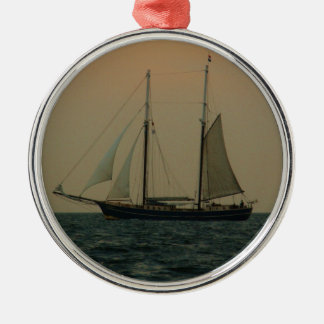 Historic Schooner Silver-Colored Round Decoration