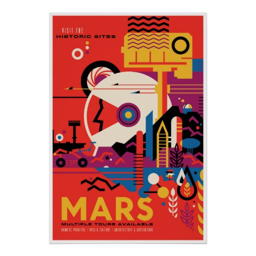 Historic Sites of Mars Space Tourism Illustration Poster