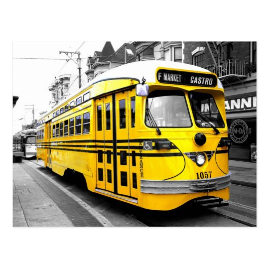 Historic Streetcar with Striking Yellow Colour Postcard