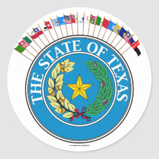 Historic Texas Flags with Seal Round Stickers