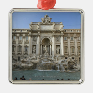 Historic Trevi Fountain in Rome, Italy Silver-Colored Square Decoration