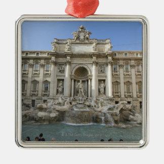 Historic Trevi Fountain in Rome, Italy Silver-Colored Square Decoration