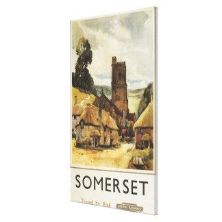 Historic Village Scene British Railway Poster Canvas Print