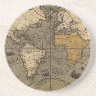 Historic World Map Tasteful Earth Gift Coaster