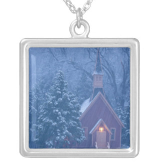 Historic Yosemite Valley Chapel during heavy Silver Plated Necklace