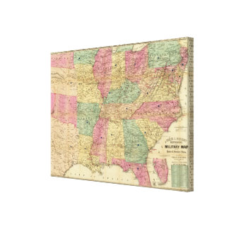 Historical and Military Map of the US Canvas Print