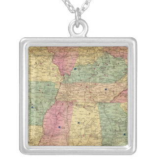 Historical and Military Map of the US Silver Plated Necklace